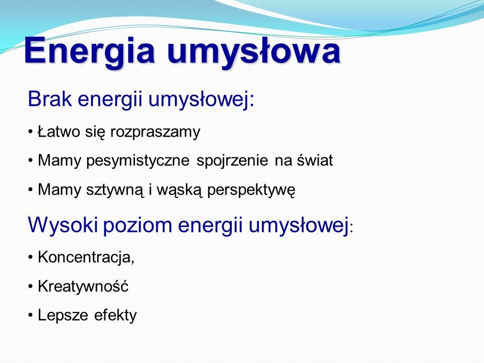 Energia umysłowa Brak energii umysłowej: