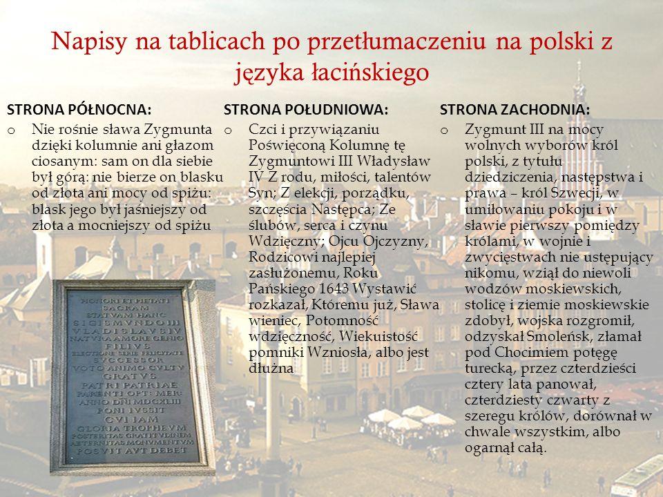 Napisy na tablicach po przetłumaczeniu na polski z języka łacińskiego