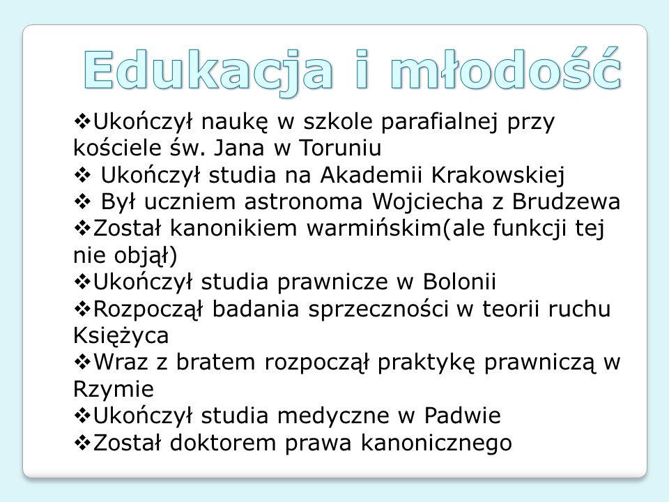Edukacja i młodość Ukończył naukę w szkole parafialnej przy kościele św. Jana w Toruniu. Ukończył studia na Akademii Krakowskiej.