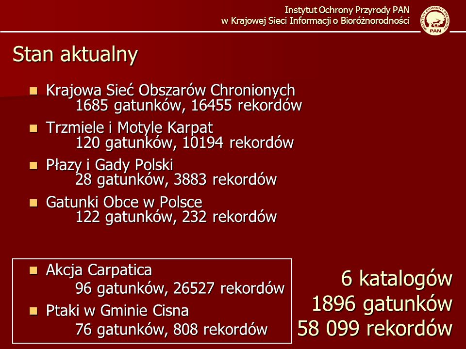 6 katalogów 1896 gatunków 58 099 rekordów