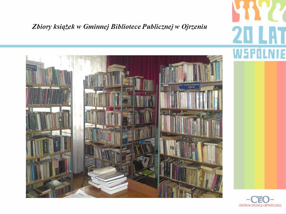 Zbiory książek w Gminnej Bibliotece Publicznej w Ojrzeniu