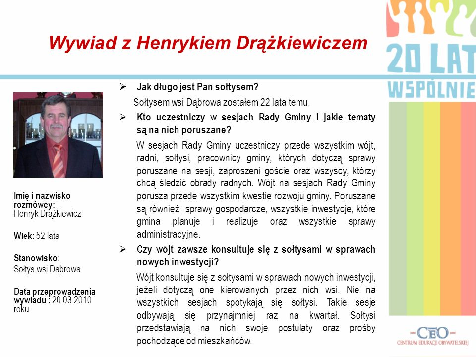 Wywiad z Henrykiem Drążkiewiczem