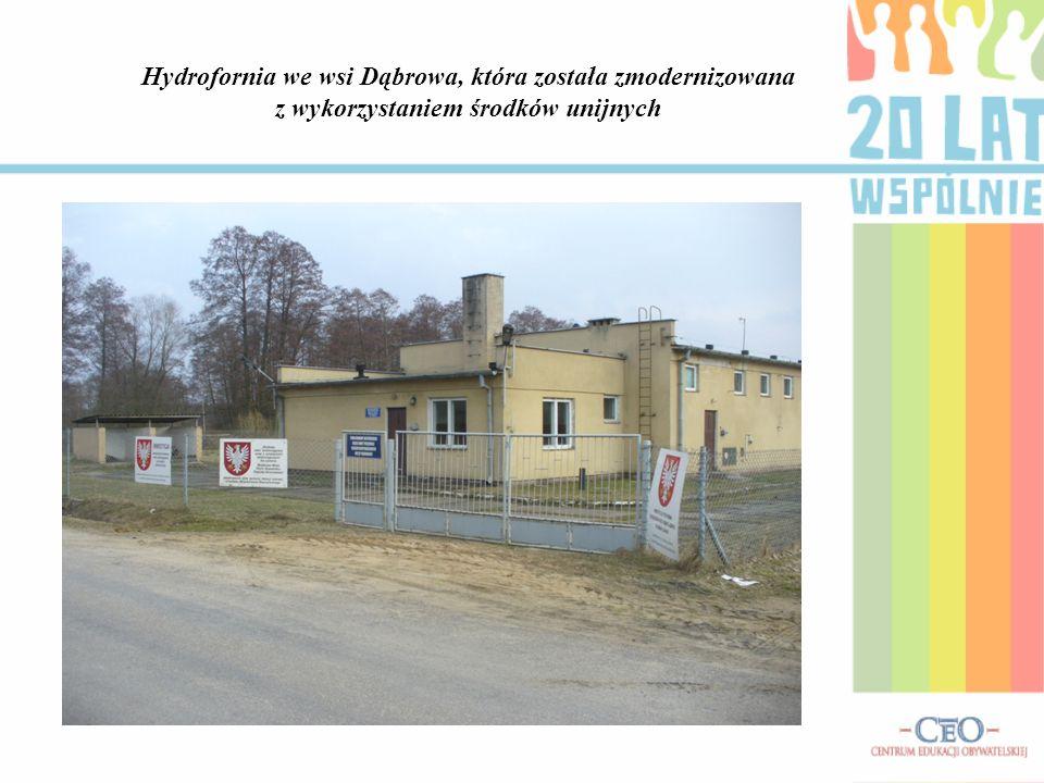 Hydrofornia we wsi Dąbrowa, która została zmodernizowana z wykorzystaniem środków unijnych