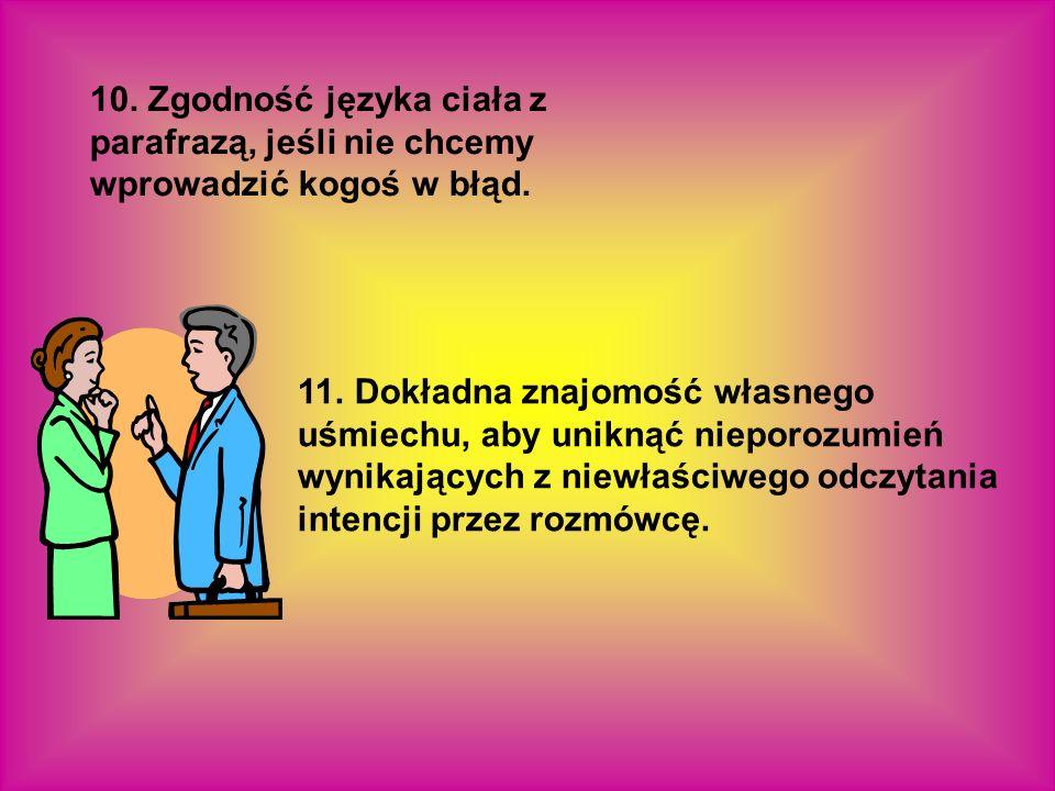 10. Zgodność języka ciała z parafrazą, jeśli nie chcemy wprowadzić kogoś w błąd.