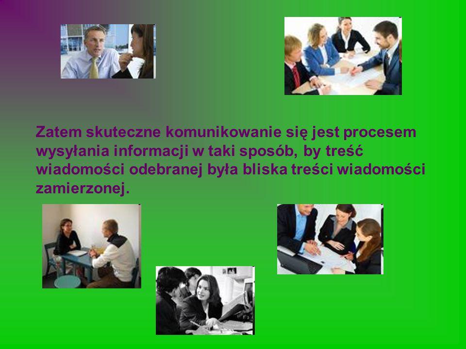 Zatem skuteczne komunikowanie się jest procesem wysyłania informacji w taki sposób, by treść wiadomości odebranej była bliska treści wiadomości zamierzonej.