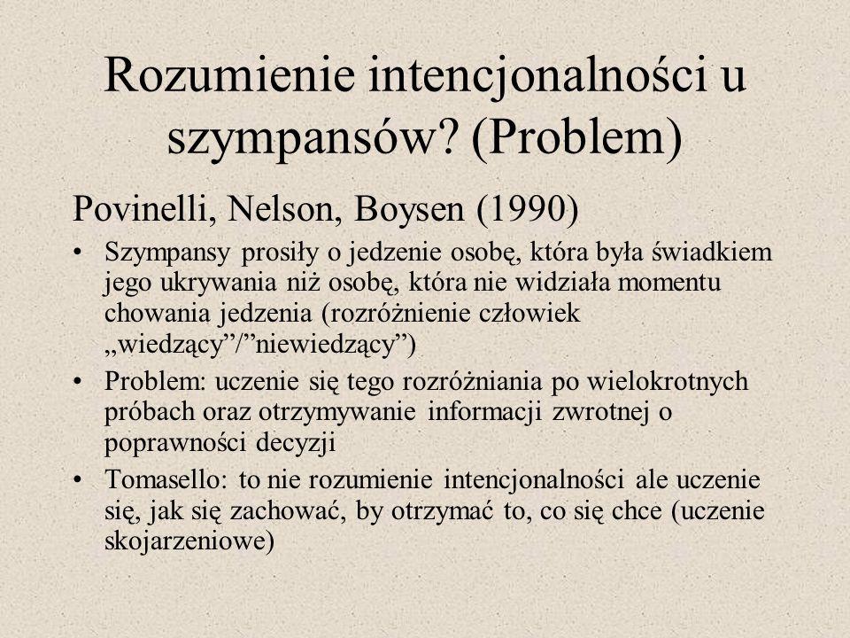 Rozumienie intencjonalności u szympansów (Problem)