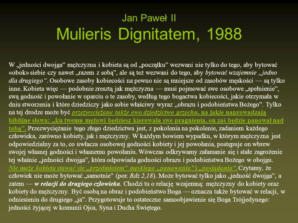 Jan Paweł II Mulieris Dignitatem, 1988