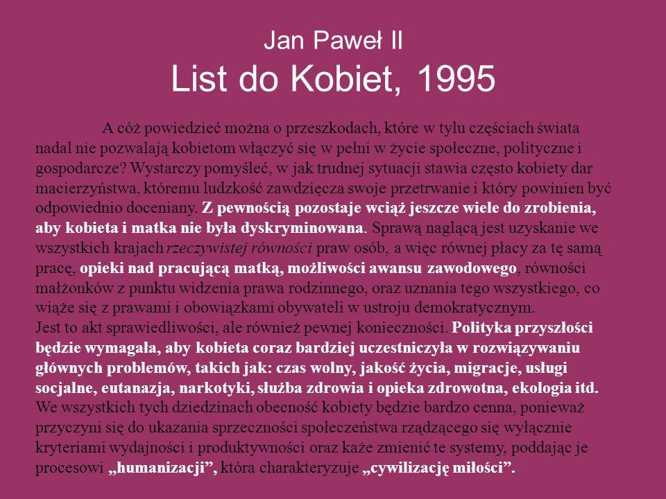 Jan Paweł II List do Kobiet, 1995