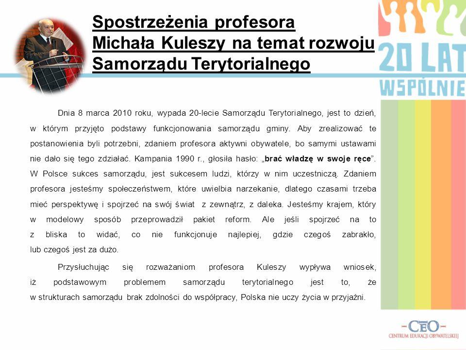 Spostrzeżenia profesora Michała Kuleszy na temat rozwoju Samorządu Terytorialnego