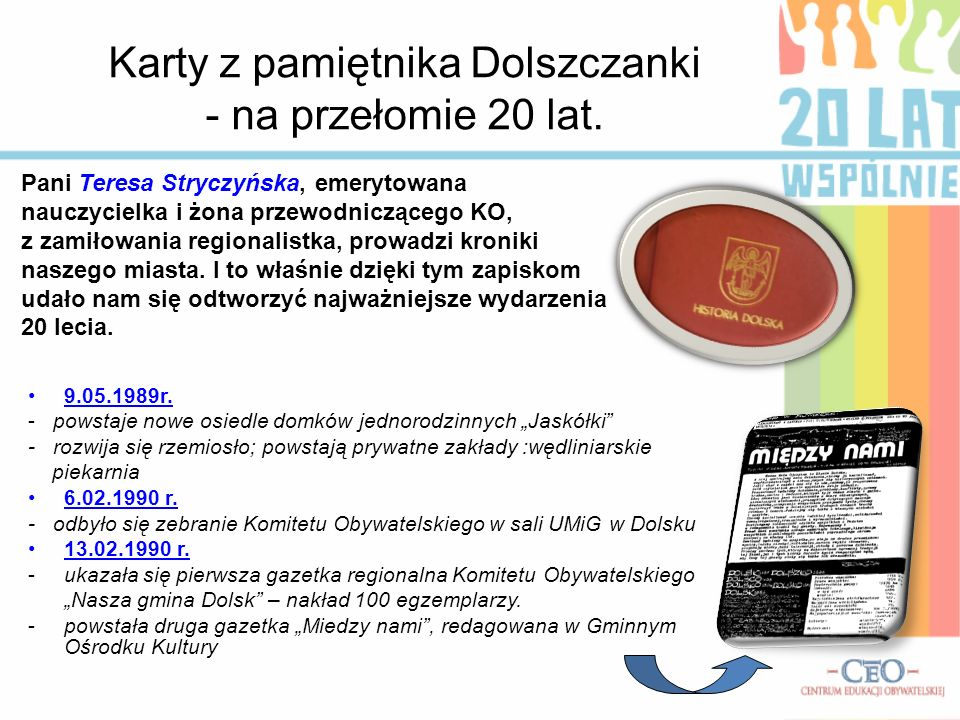 Karty z pamiętnika Dolszczanki - na przełomie 20 lat.