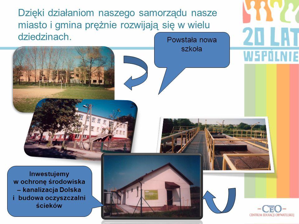 Dzięki działaniom naszego samorządu nasze miasto i gmina prężnie rozwijają się w wielu dziedzinach.