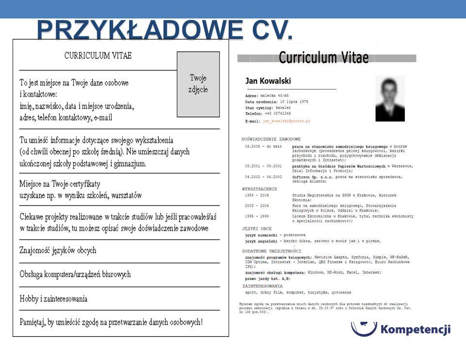 PRZYKŁADOWE CV.