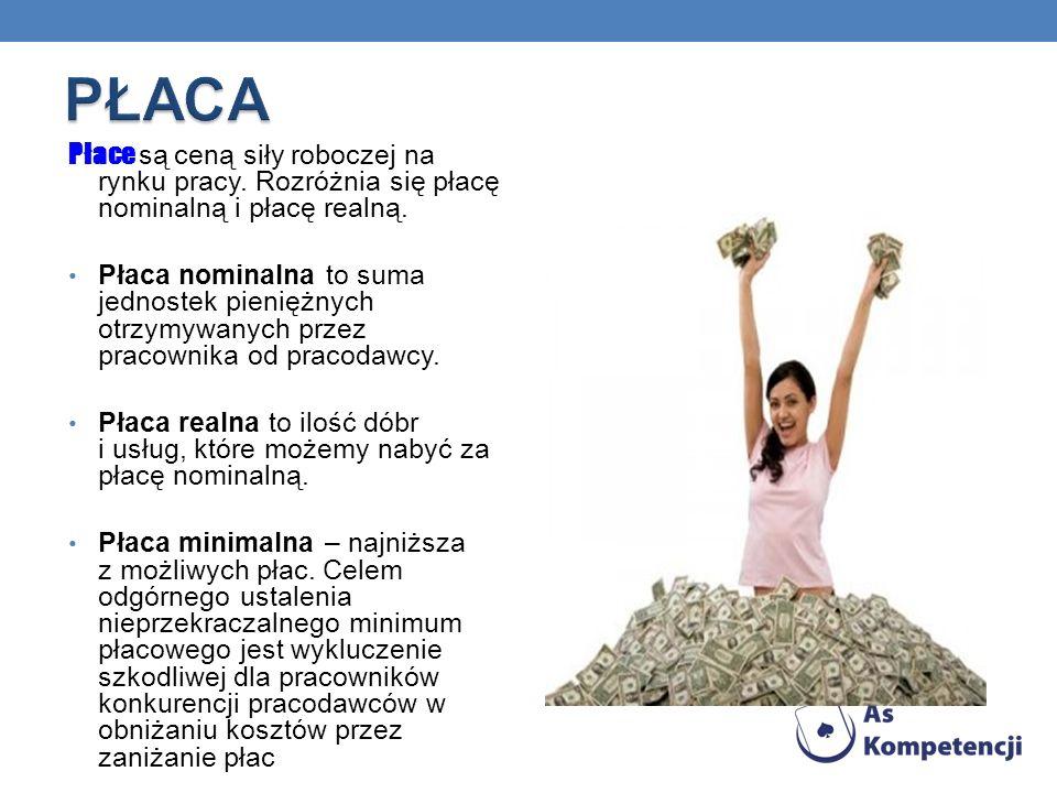 PŁACA Płace są ceną siły roboczej na rynku pracy. Rozróżnia się płacę nominalną i płacę realną.