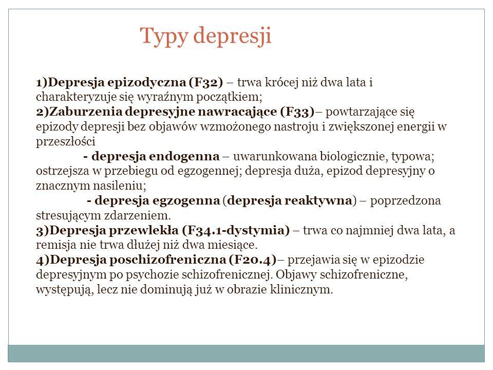 Typy depresji 1)Depresja epizodyczna (F32) – trwa krócej niż dwa lata i charakteryzuje się wyraźnym początkiem;