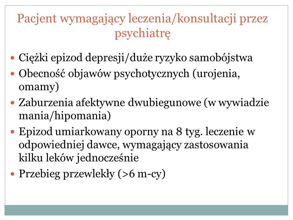 Pacjent wymagający leczenia/konsultacji przez psychiatrę