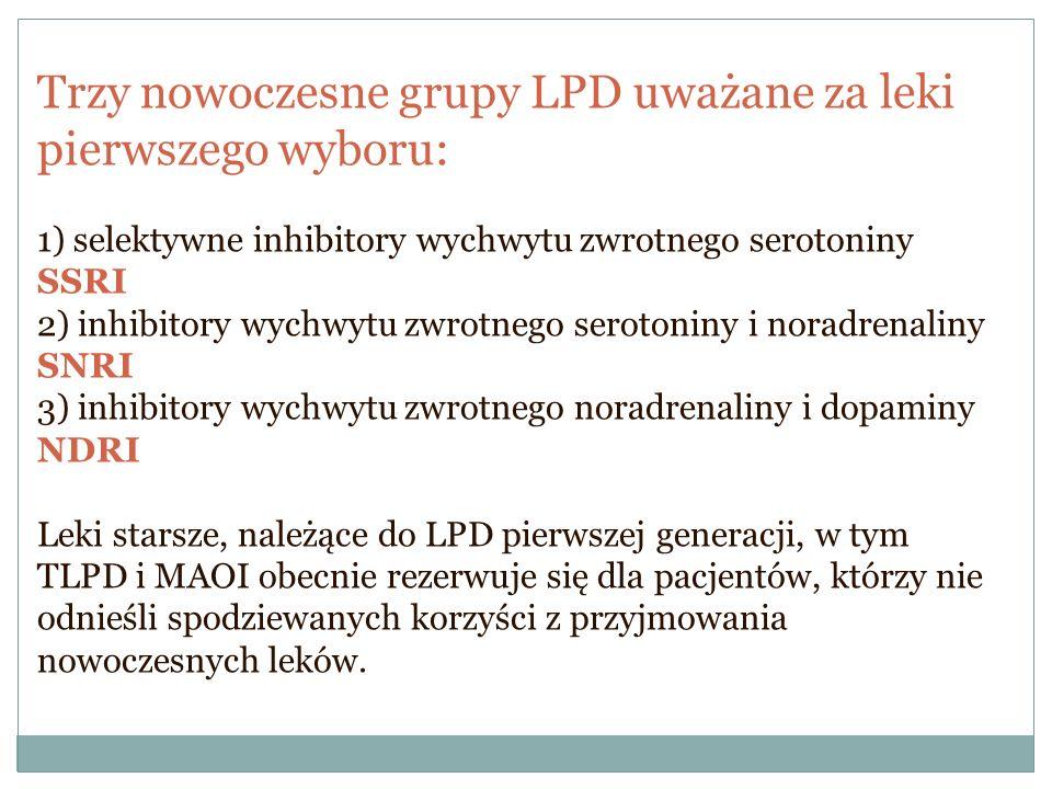 Trzy nowoczesne grupy LPD uważane za leki pierwszego wyboru:
