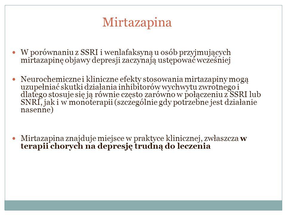 Mirtazapina W porównaniu z SSRI i wenlafaksyną u osób przyjmujących mirtazapinę objawy depresji zaczynają ustępować wcześniej.