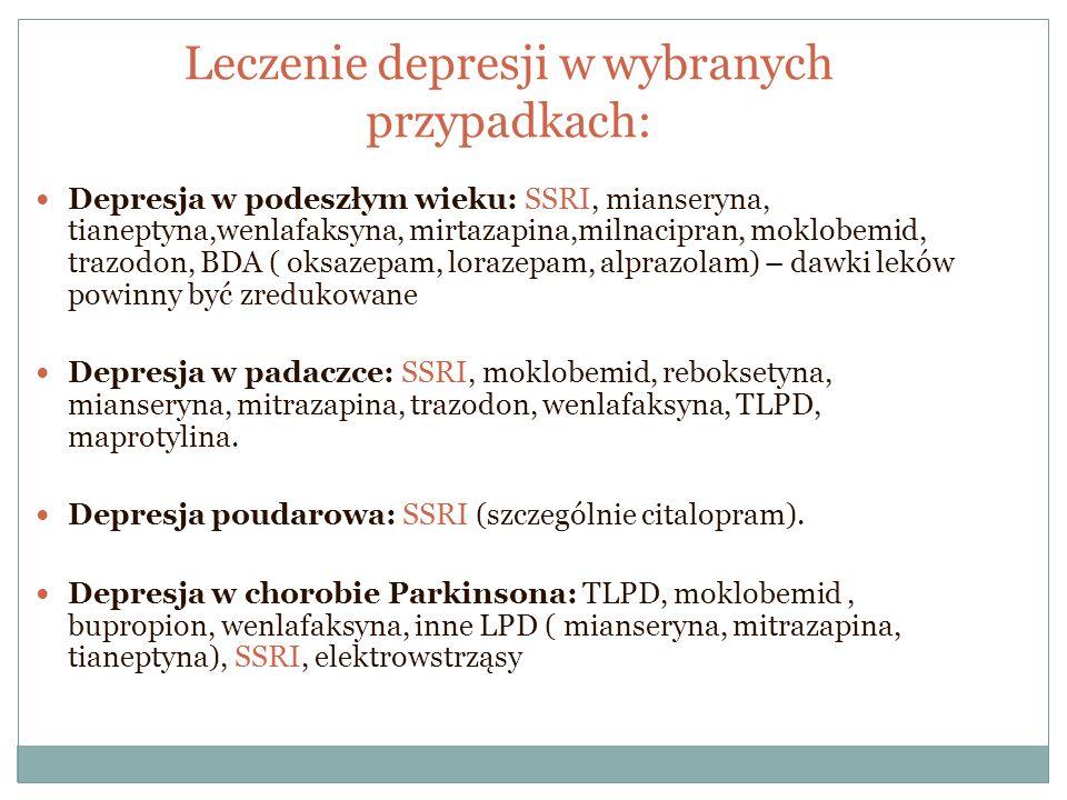 Leczenie depresji w wybranych przypadkach: