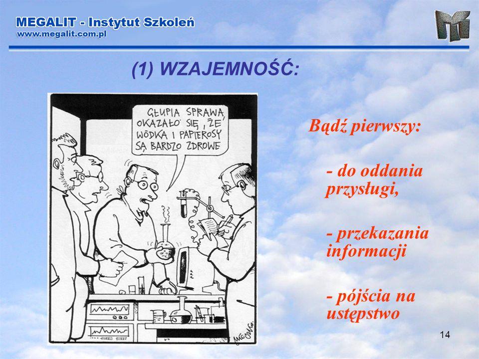 (1) WZAJEMNOŚĆ: Bądź pierwszy: - do oddania przysługi, - przekazania informacji.