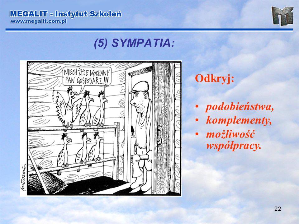 (5) SYMPATIA: Odkryj: podobieństwa, komplementy, możliwość współpracy.