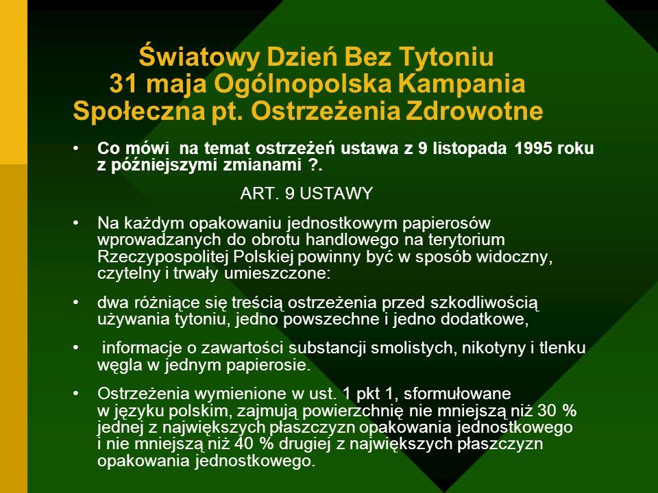 Światowy Dzień Bez Tytoniu 31 maja Ogólnopolska Kampania Społeczna pt