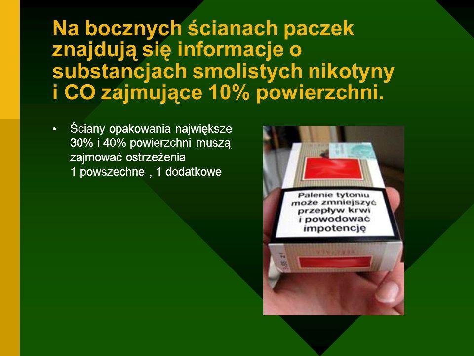 Na bocznych ścianach paczek znajdują się informacje o substancjach smolistych nikotyny i CO zajmujące 10% powierzchni.