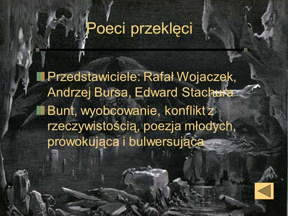 Poeci przeklęci Przedstawiciele: Rafał Wojaczek, Andrzej Bursa, Edward Stachura.