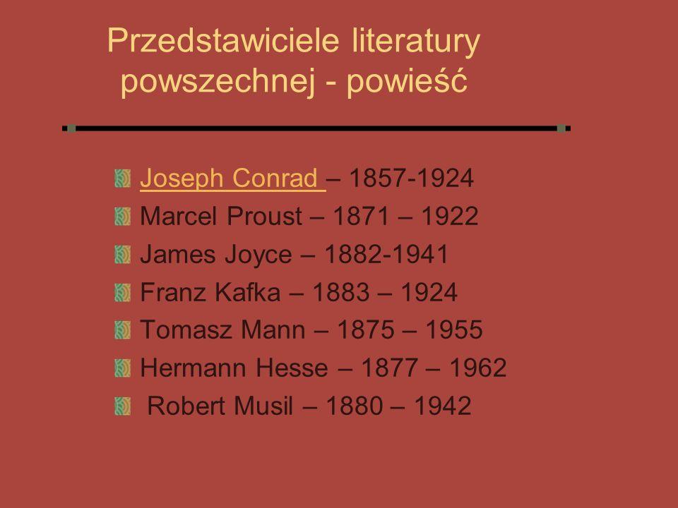 Przedstawiciele literatury powszechnej - powieść
