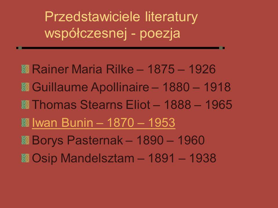 Przedstawiciele literatury współczesnej - poezja