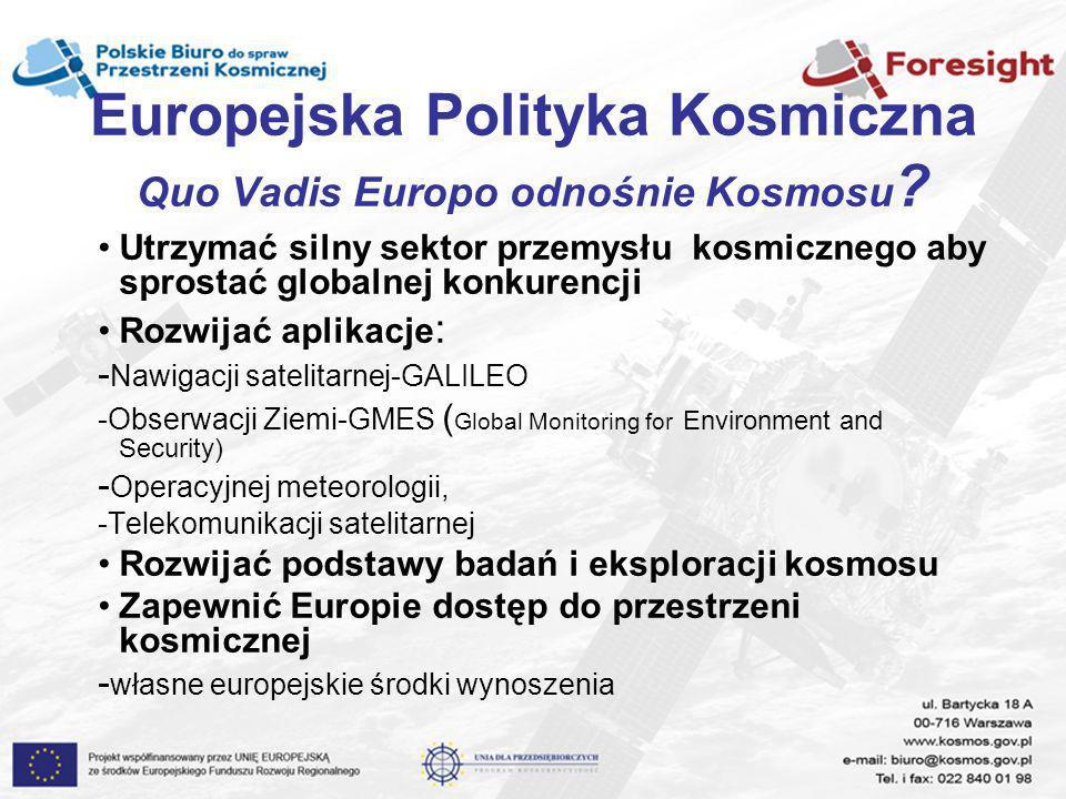 Europejska Polityka Kosmiczna Quo Vadis Europo odnośnie Kosmosu