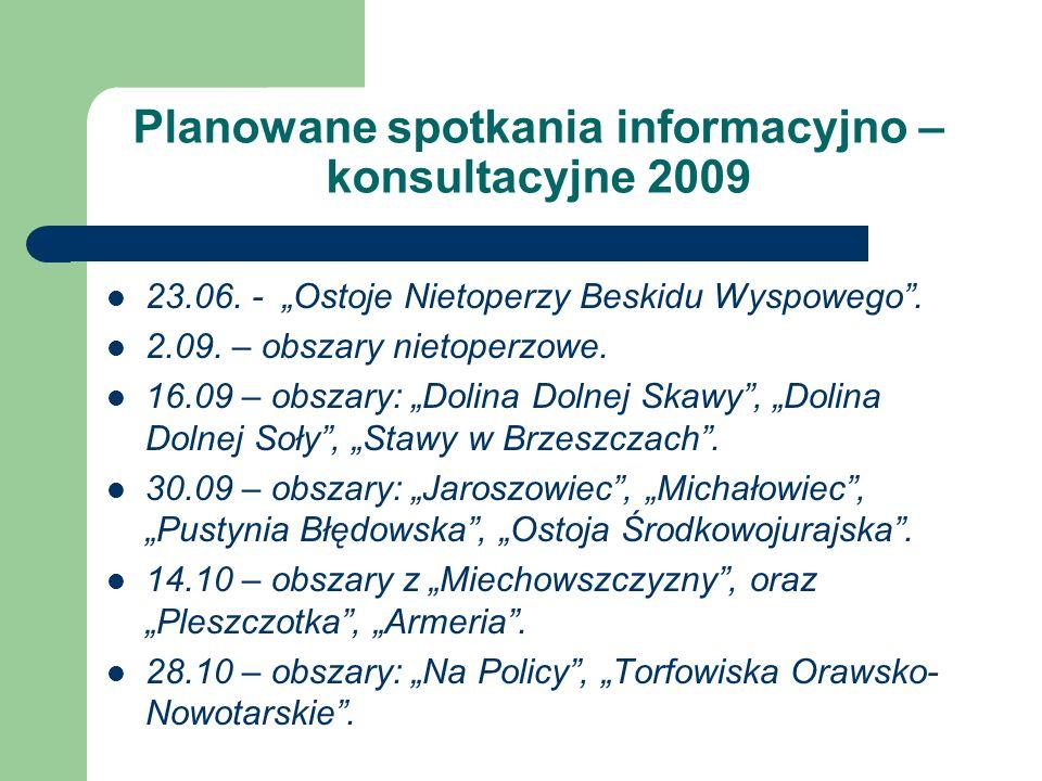 Planowane spotkania informacyjno – konsultacyjne 2009