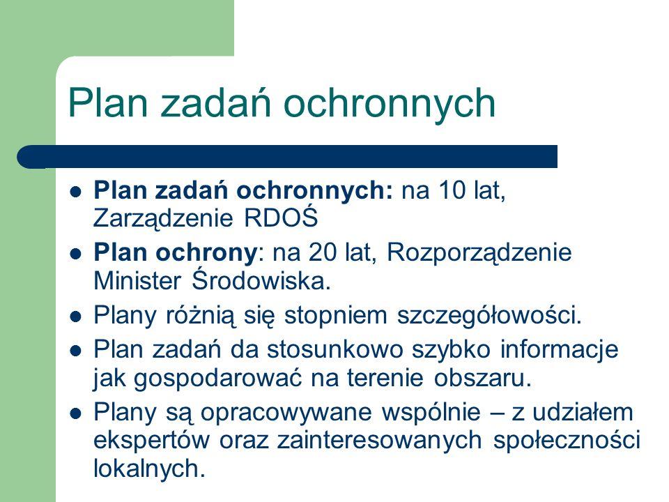 Plan zadań ochronnych Plan zadań ochronnych: na 10 lat, Zarządzenie RDOŚ. Plan ochrony: na 20 lat, Rozporządzenie Minister Środowiska.