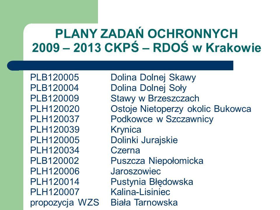 PLANY ZADAŃ OCHRONNYCH 2009 – 2013 CKPŚ – RDOŚ w Krakowie