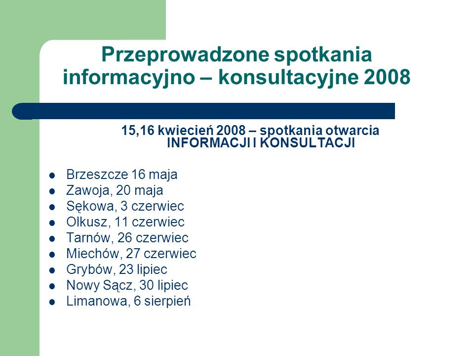 Przeprowadzone spotkania informacyjno – konsultacyjne 2008