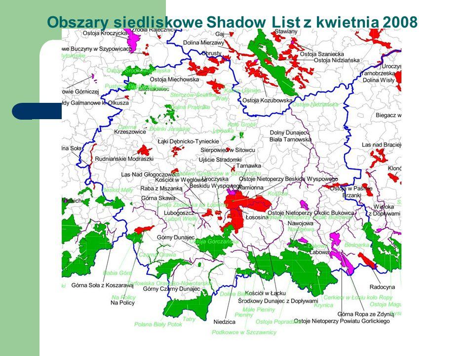 Obszary siedliskowe Shadow List z kwietnia 2008