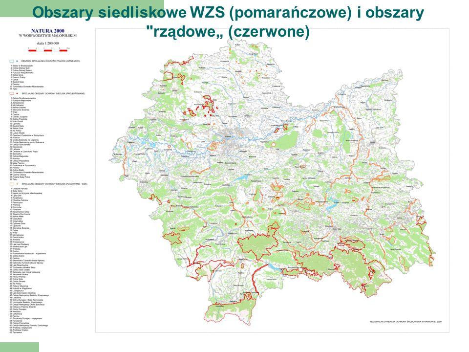 """Obszary siedliskowe WZS (pomarańczowe) i obszary rządowe"""" (czerwone)"""
