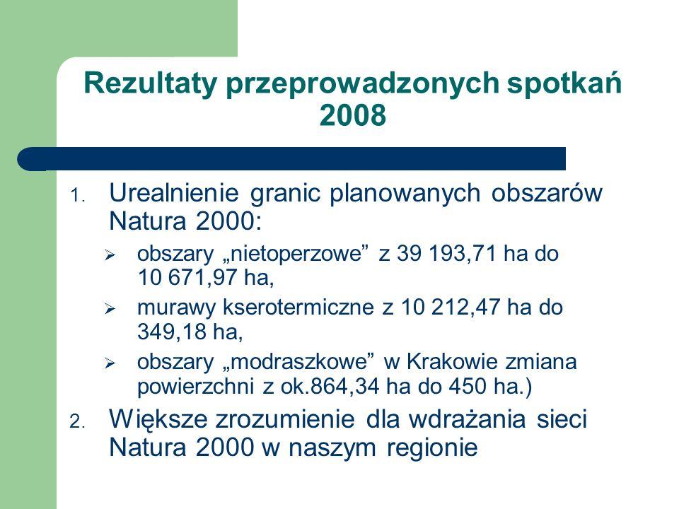Rezultaty przeprowadzonych spotkań 2008