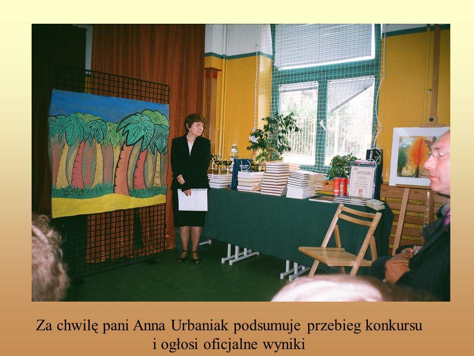 Slajd tytułowy Za chwilę pani Anna Urbaniak podsumuje przebieg konkursu i ogłosi oficjalne wyniki