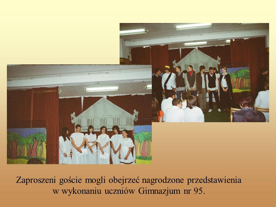 Slajd tytułowy Zaproszeni goście mogli obejrzeć nagrodzone przedstawienia w wykonaniu uczniów Gimnazjum nr 95.