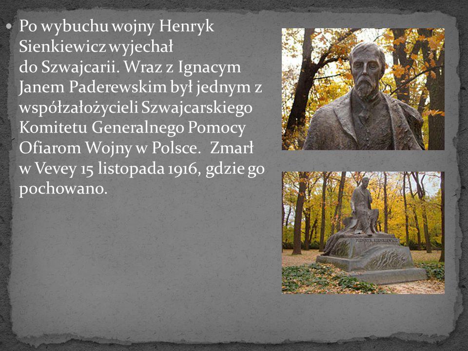 Po wybuchu wojny Henryk Sienkiewicz wyjechał do Szwajcarii