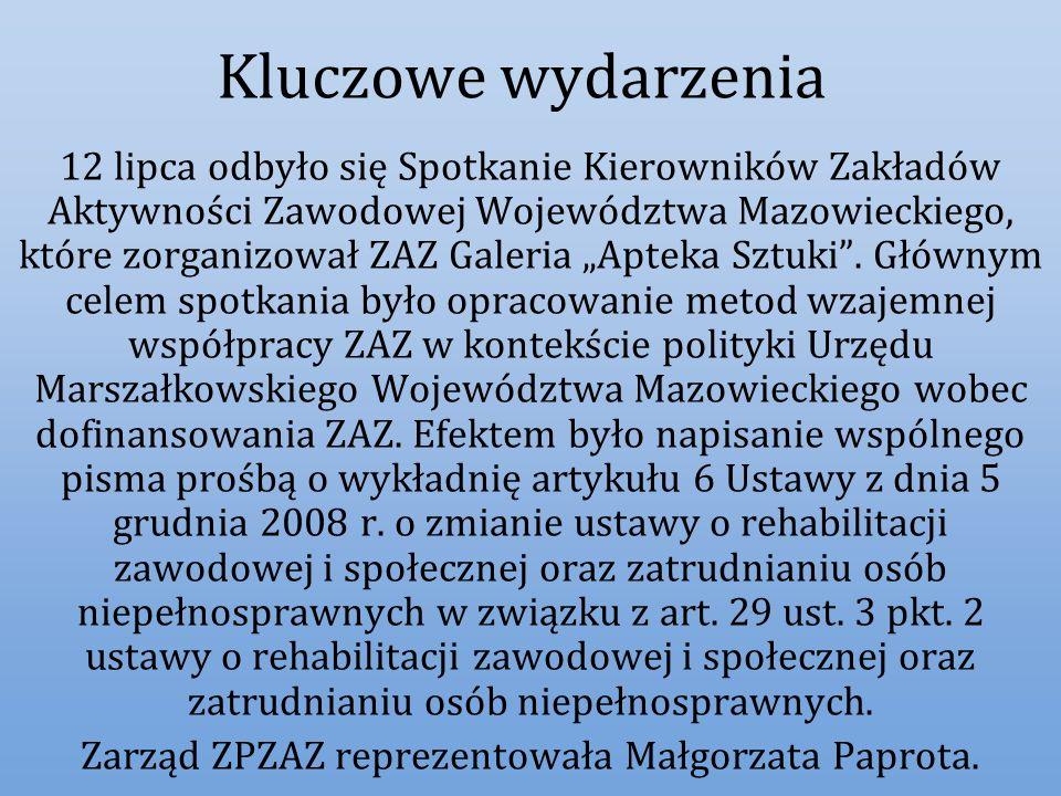 Zarząd ZPZAZ reprezentowała Małgorzata Paprota.