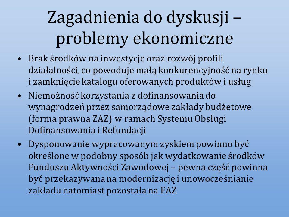 Zagadnienia do dyskusji – problemy ekonomiczne