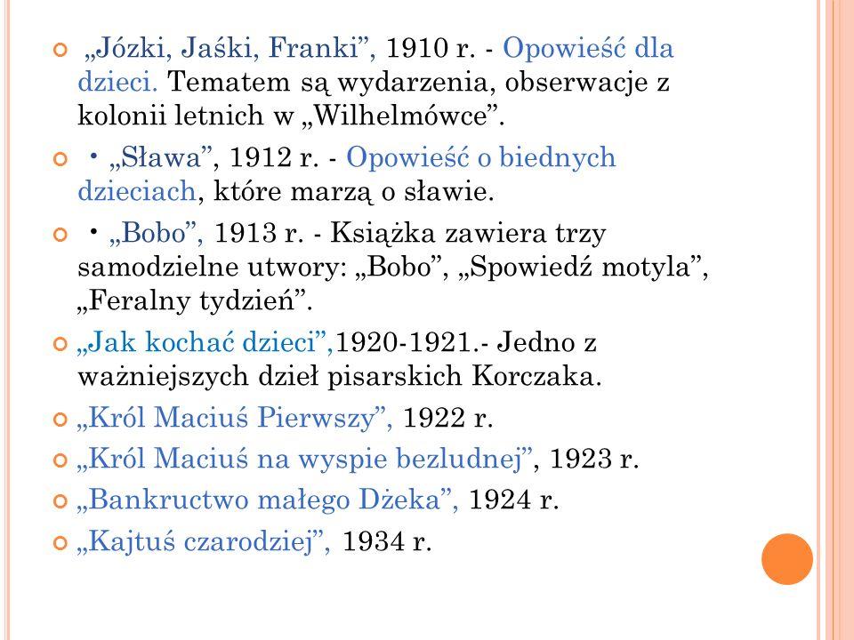"""""""Józki, Jaśki, Franki , 1910 r. - Opowieść dla dzieci"""