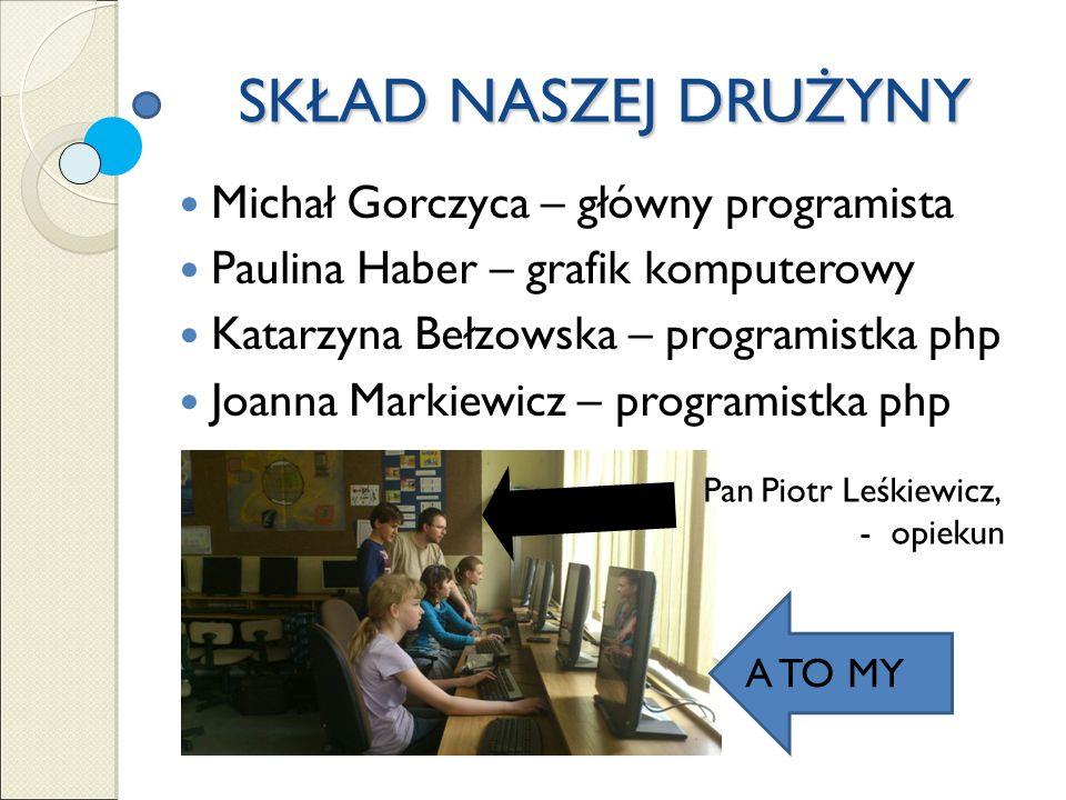 SKŁAD NASZEJ DRUŻYNY Michał Gorczyca – główny programista