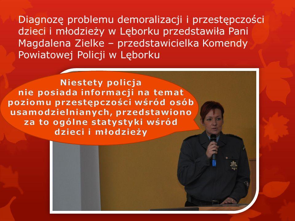 Diagnozę problemu demoralizacji i przestępczości dzieci i młodzieży w Lęborku przedstawiła Pani Magdalena Zielke – przedstawicielka Komendy Powiatowej Policji w Lęborku