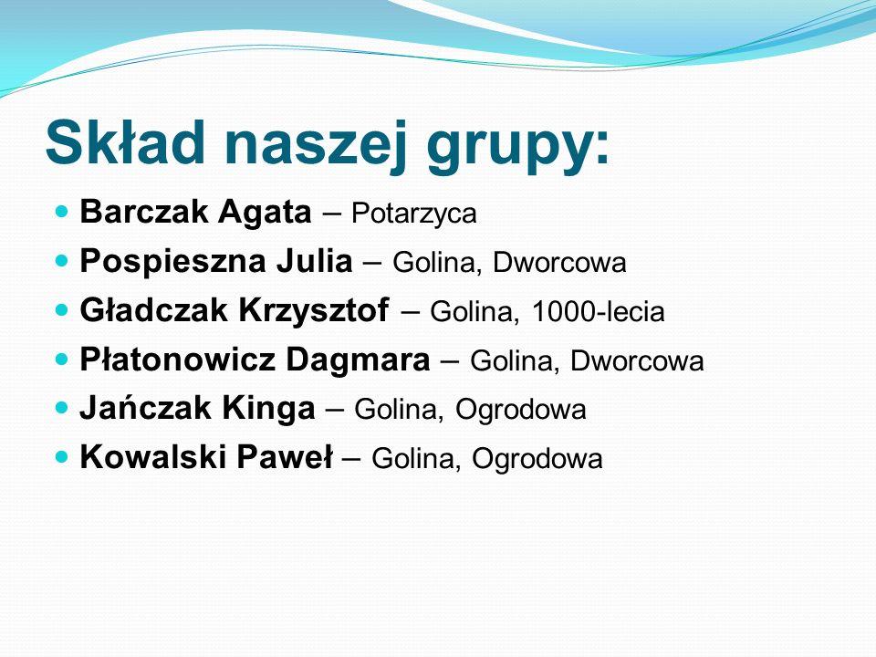 Skład naszej grupy: Barczak Agata – Potarzyca