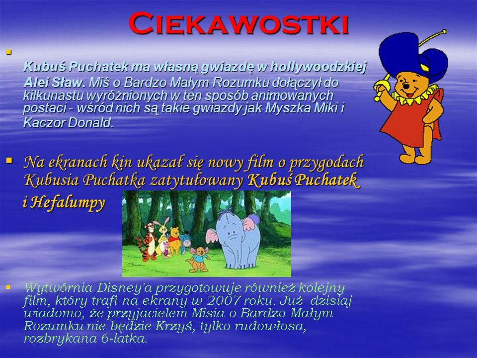 Ciekawostki Kubuś Puchatek ma własną gwiazdę w hollywoodzkiej.