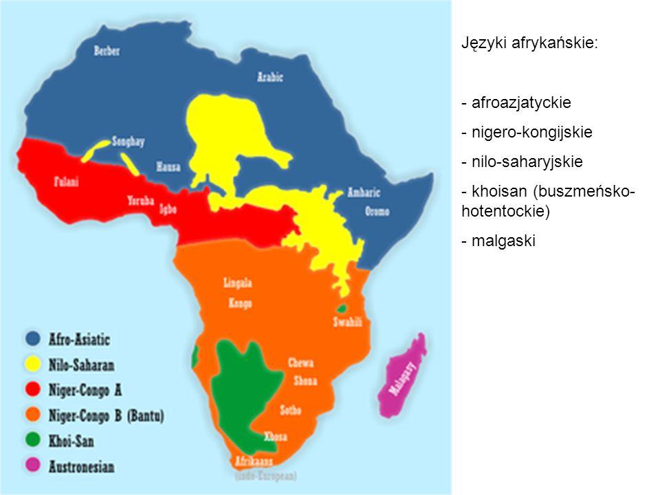 Języki afrykańskie: afroazjatyckie. nigero-kongijskie. nilo-saharyjskie. khoisan (buszmeńsko-hotentockie)