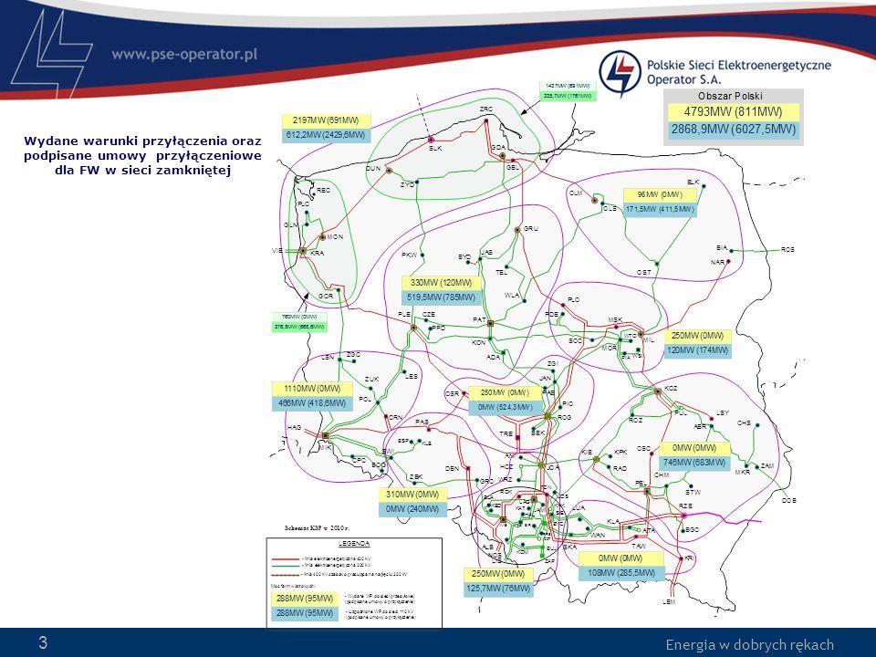 Wydane warunki przyłączenia oraz podpisane umowy przyłączeniowe dla FW w sieci zamkniętej