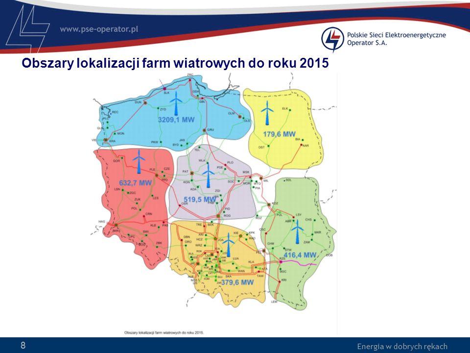 Obszary lokalizacji farm wiatrowych do roku 2015
